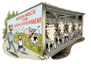Karikatur von weidenden Kühen im Stall