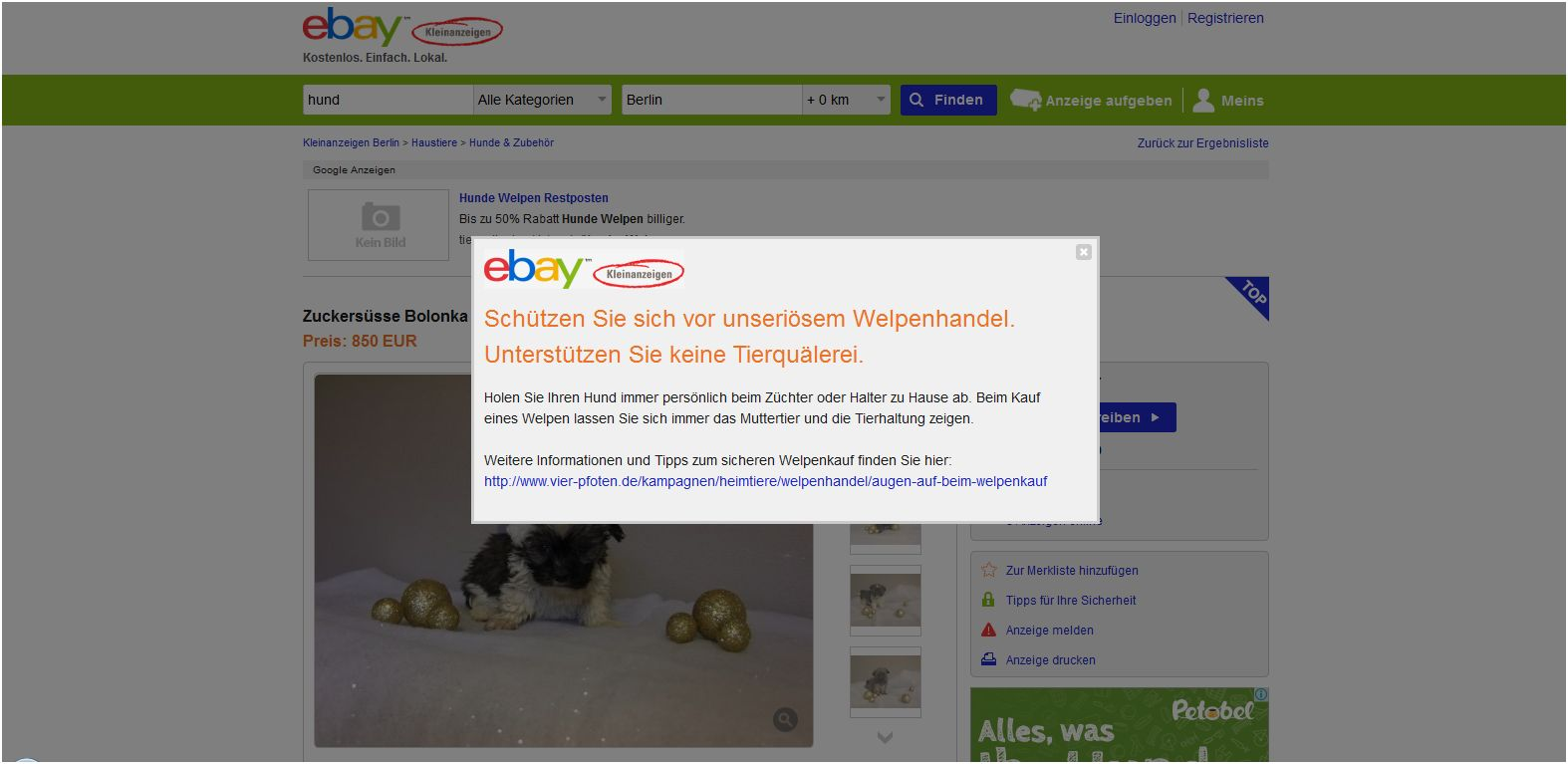 ebay kleinanzeigen welttierschutzgesellschaft e v. Black Bedroom Furniture Sets. Home Design Ideas
