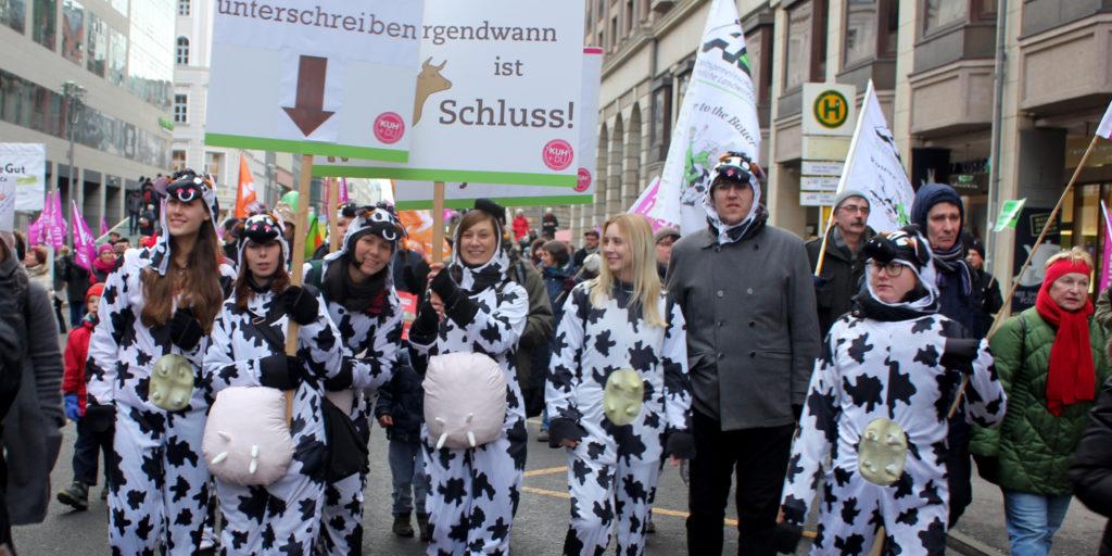 Unsere Demonstranten für die Kühe