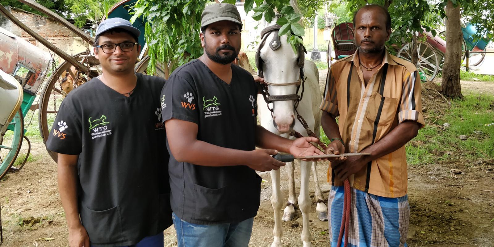 Mitarbeiter von WVS mit einem Pferdehalter