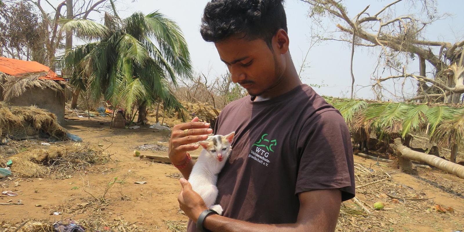 Soforthilfe in Bildern: So wie diese Katze mussten tausende Haus- und Nutztiere zurückgelassen werden